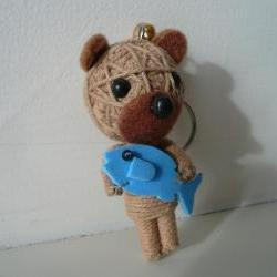 Cute String bear with fish miniature animal Christmas ornament doll key chain holder